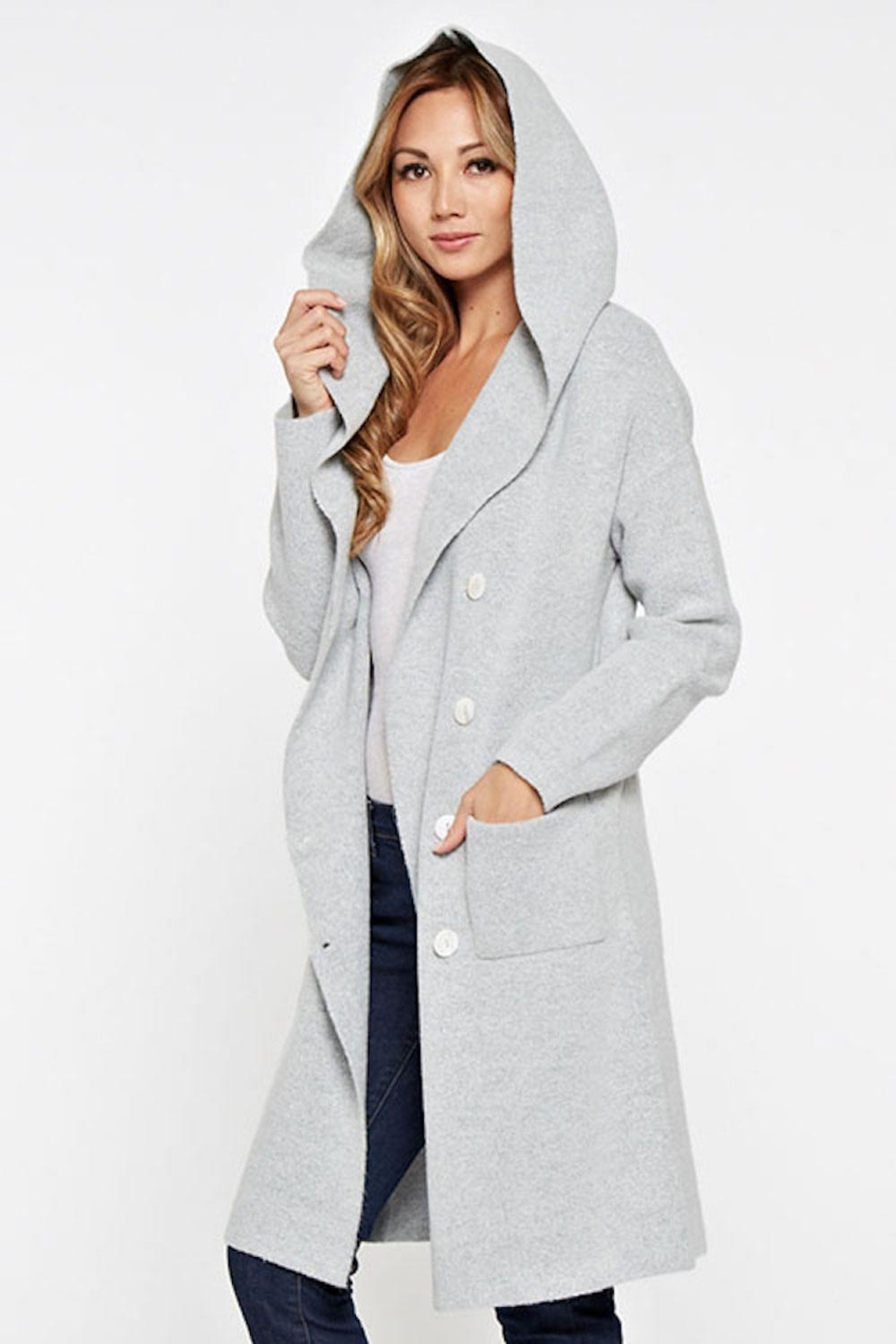 Lovestitch Hooded Cardigan - Front Full Image