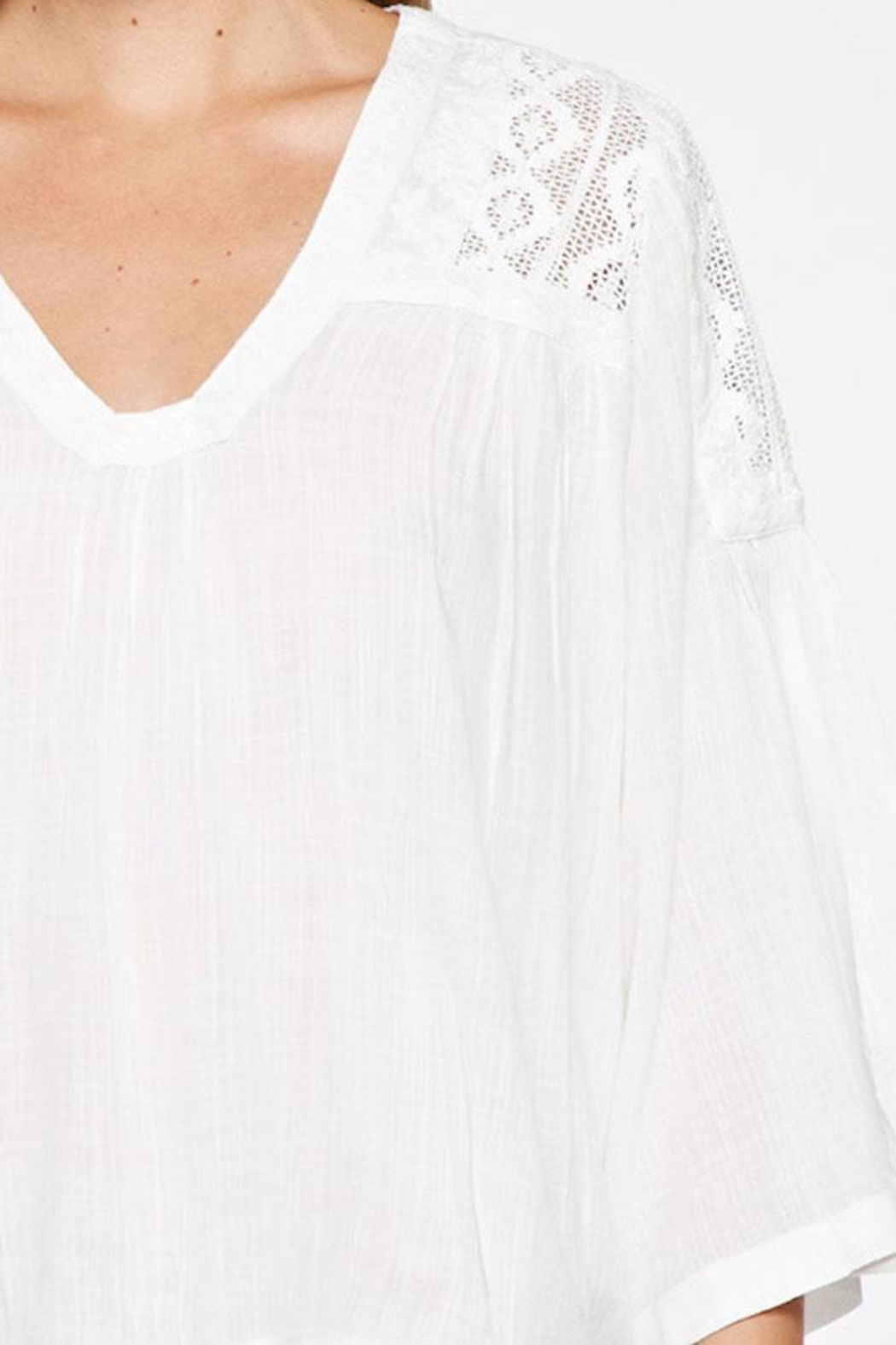 Lovestitch Lace Embroidered Top - Back Cropped Image