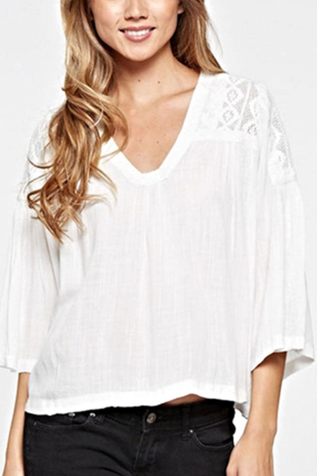 Lovestitch Lace Embroidered Top - Front Full Image