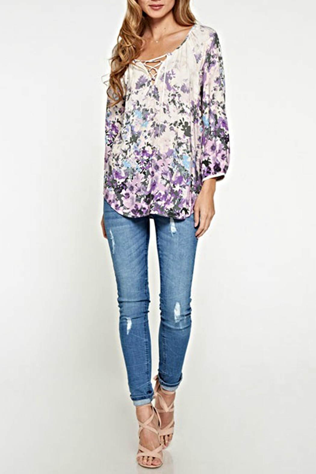 Lovestitch Lace-Up Floral Blouse - Front Full Image