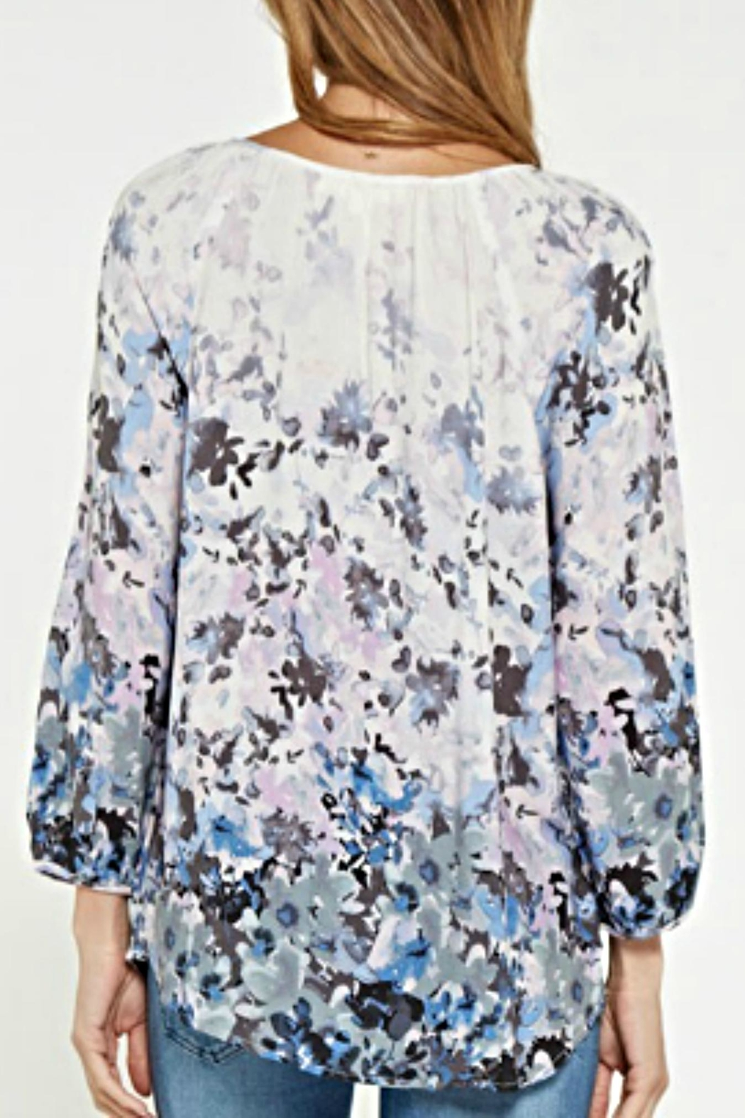 Lovestitch Lace-Up Floral Blouse - Side Cropped Image