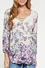 Lovestitch Lace-Up Floral Blouse - Front cropped