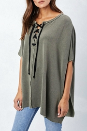 Lovestitch Lace Up Poncho - Front cropped