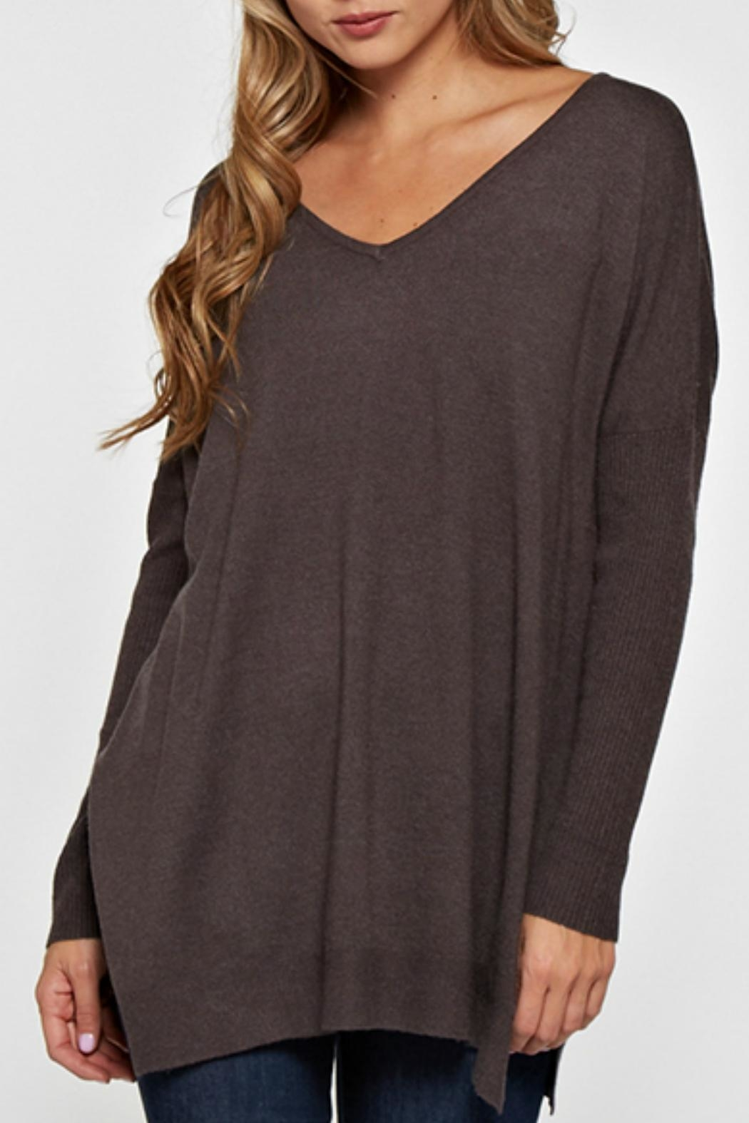 Lovestitch Lightweight Oversized Sweater - Back Cropped Image