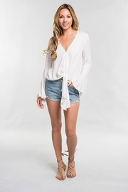 Lovestitch Long Bell Sleeve Tie Front Top - Other
