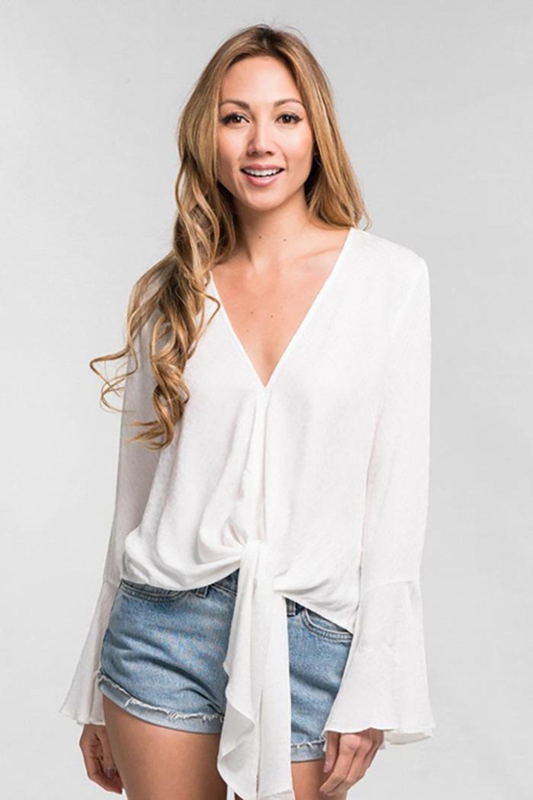 Lovestitch Long Bell Sleeve Tie Front Top - Main Image