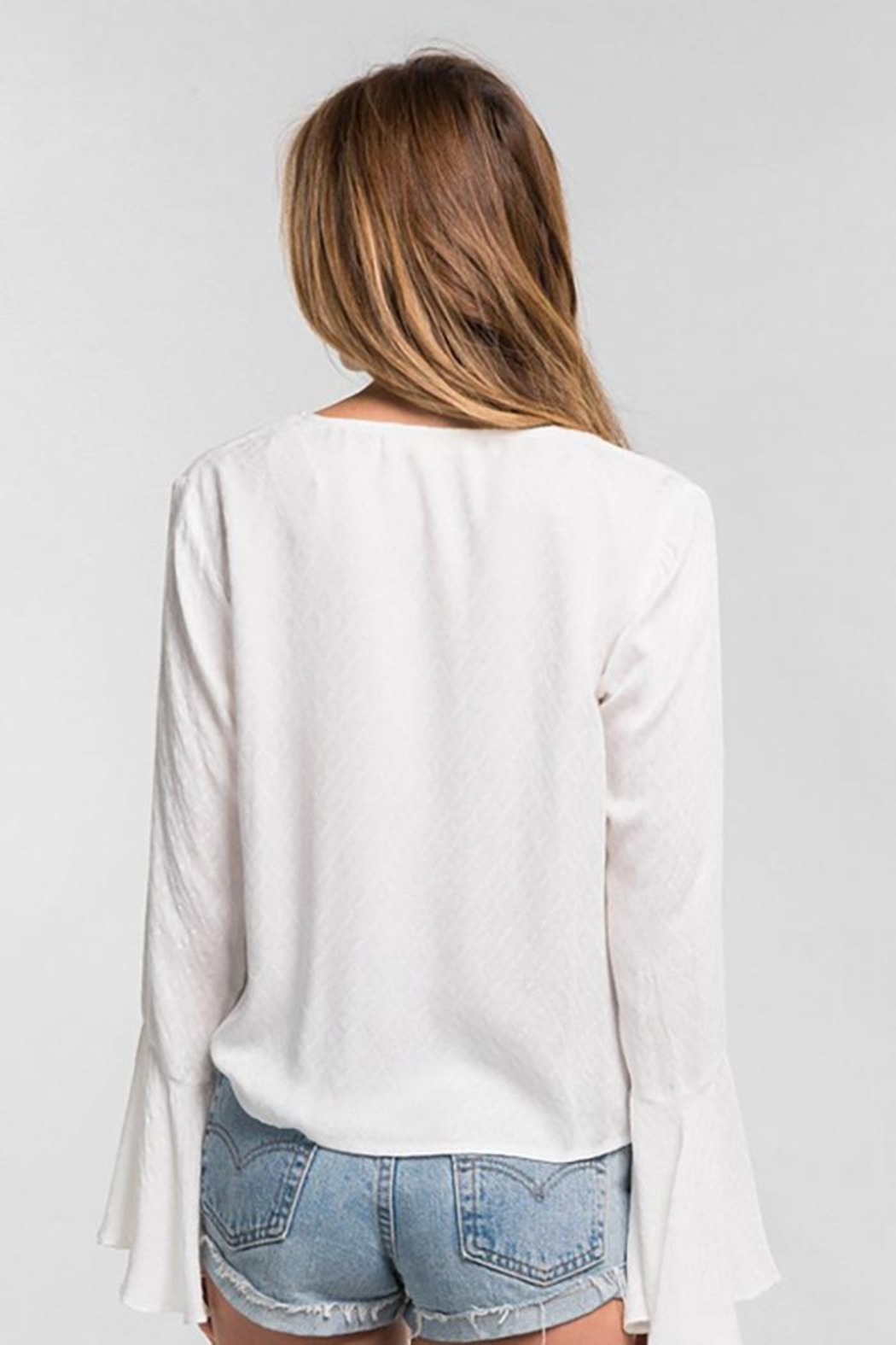 Lovestitch Long Bell Sleeve Tie Front Top - Side Cropped Image