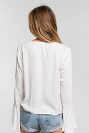 Lovestitch Long Bell Sleeve Tie Front Top - Side cropped