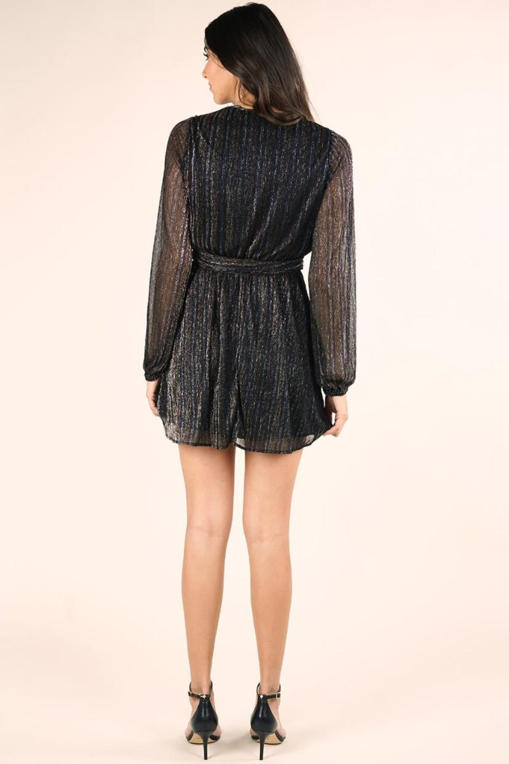 Lovestitch Long-Sleeve Metallic Dress - Side Cropped Image