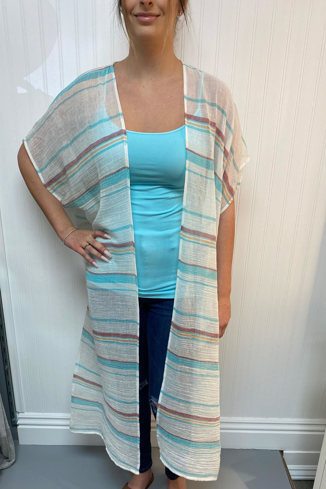 Lovestitch Long Striped Kimono - Main Image