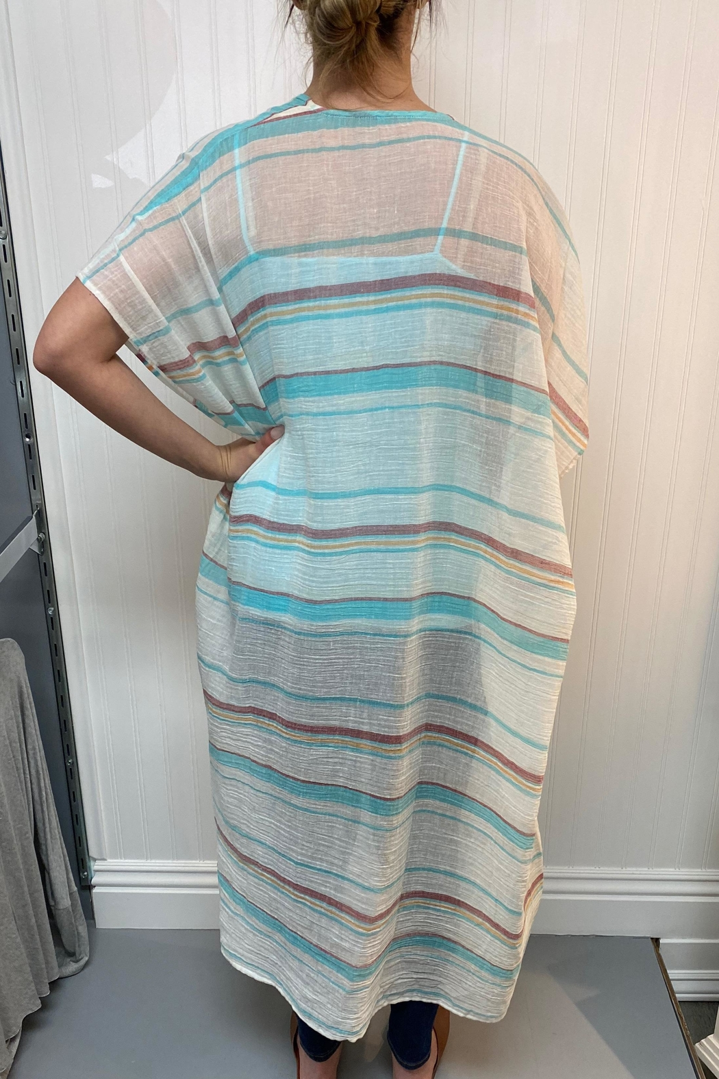 Lovestitch Long Striped Kimono - Front Full Image
