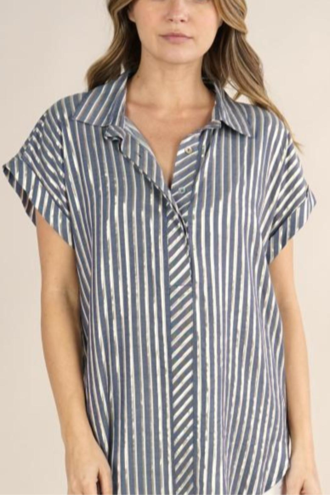 Lovestitch Metallic Striped Button-Up - Front Full Image