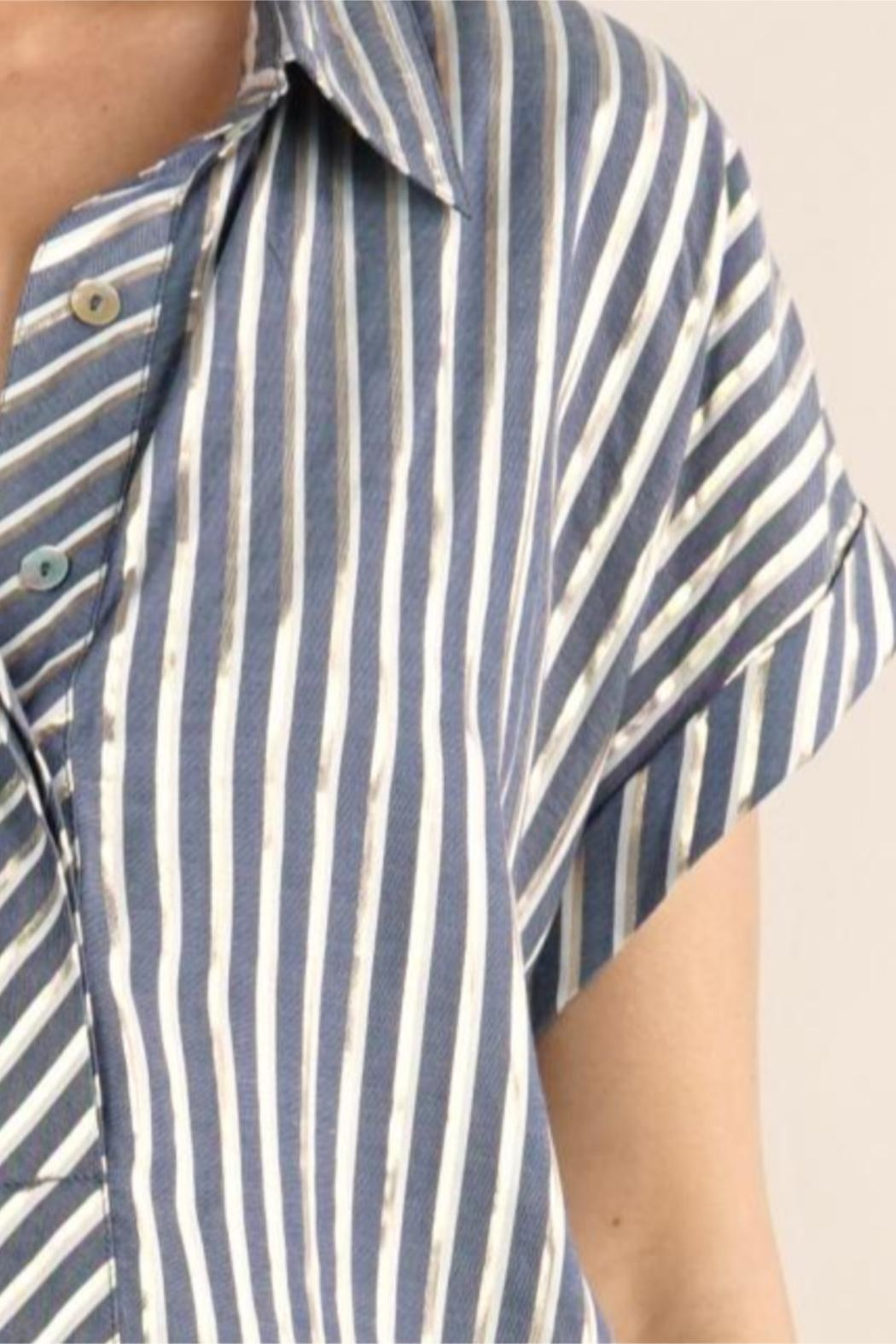 Lovestitch Metallic Striped Button-Up - Back Cropped Image