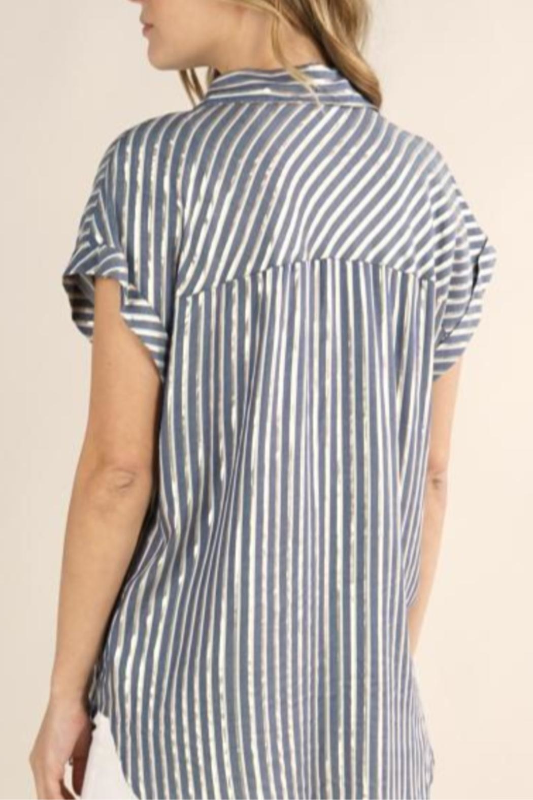 Lovestitch Metallic Striped Button-Up - Side Cropped Image
