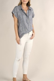 Lovestitch Metallic Striped Button-Up - Front cropped