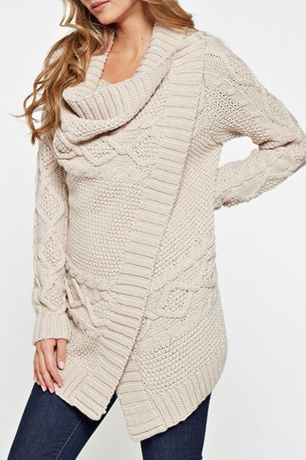 Lovestitch Mia Wrap Sweater - Back Cropped Image