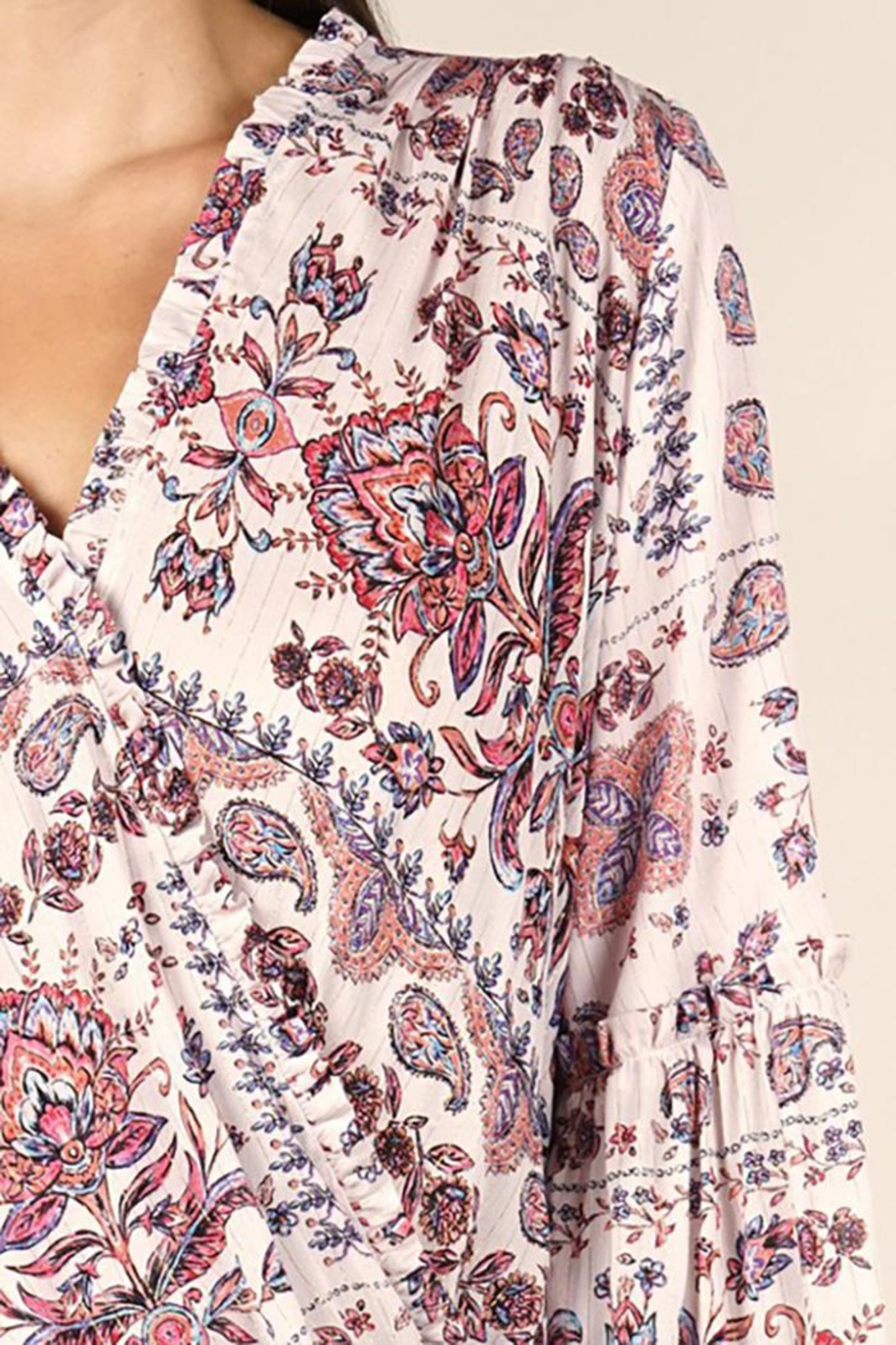 Lovestitch Moroccan Tile Printed Surplice Top - Back Cropped Image