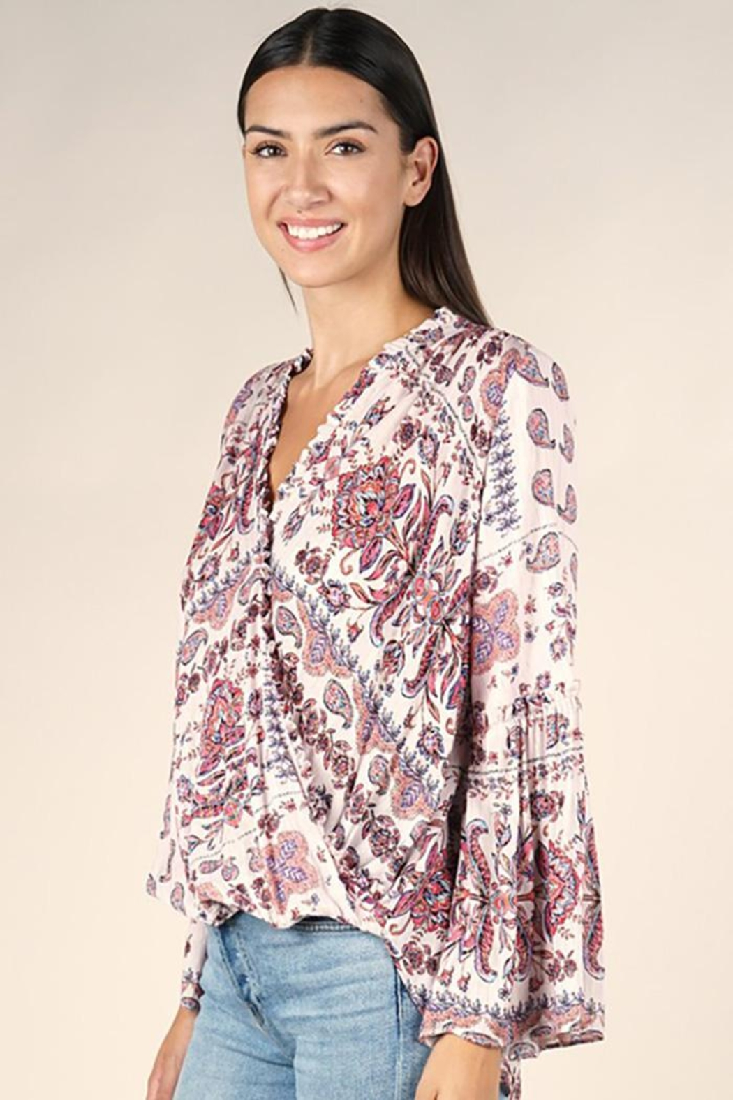 Lovestitch Moroccan Tile Printed Surplice Top - Side Cropped Image
