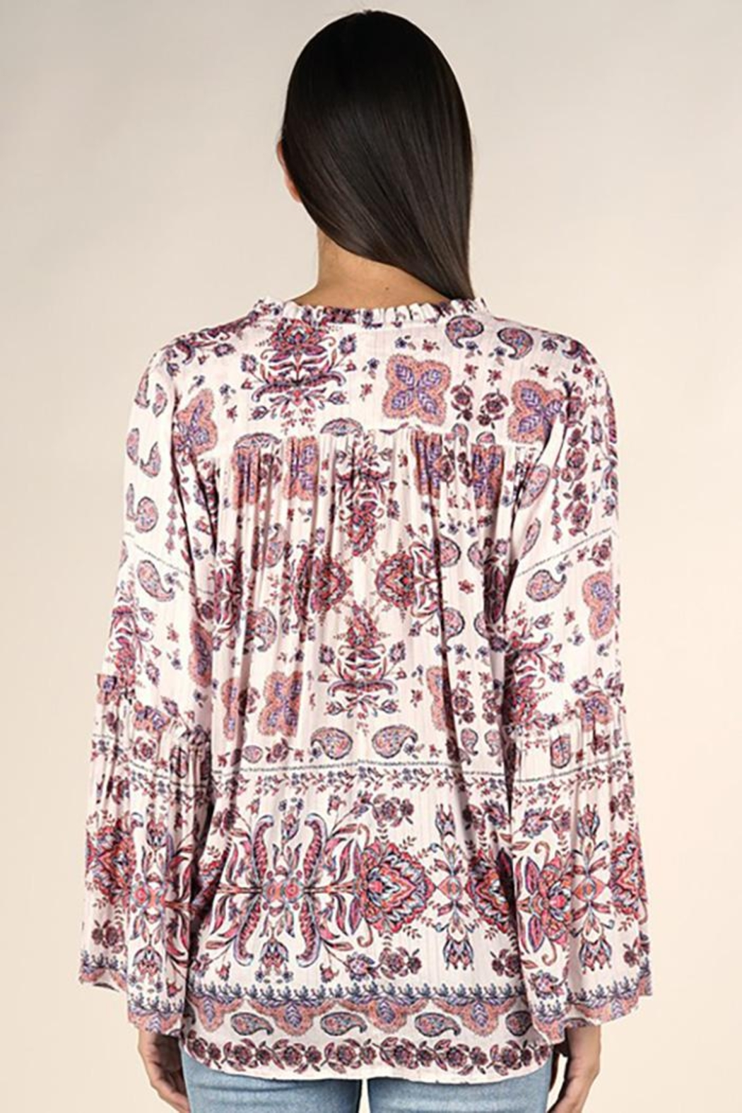 Lovestitch Moroccan Tile Printed Surplice Top - Front Full Image