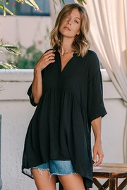 Lovestitch Oversized Button Down Tunic Top - Back cropped