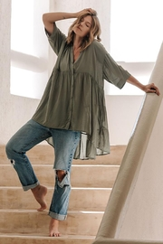 Lovestitch Oversized Button Down Tunic Top - Other