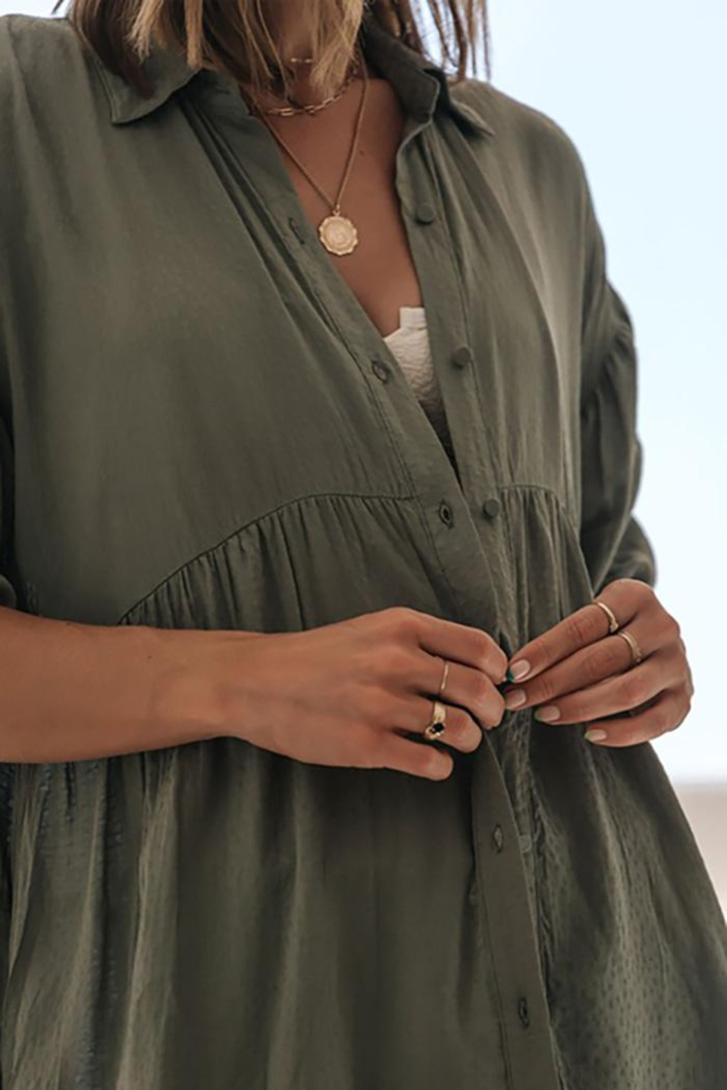 Lovestitch Oversized Button Down Tunic Top - Front Full Image