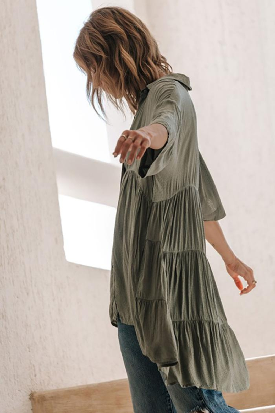 Lovestitch Oversized Button Down Tunic Top - Side Cropped Image