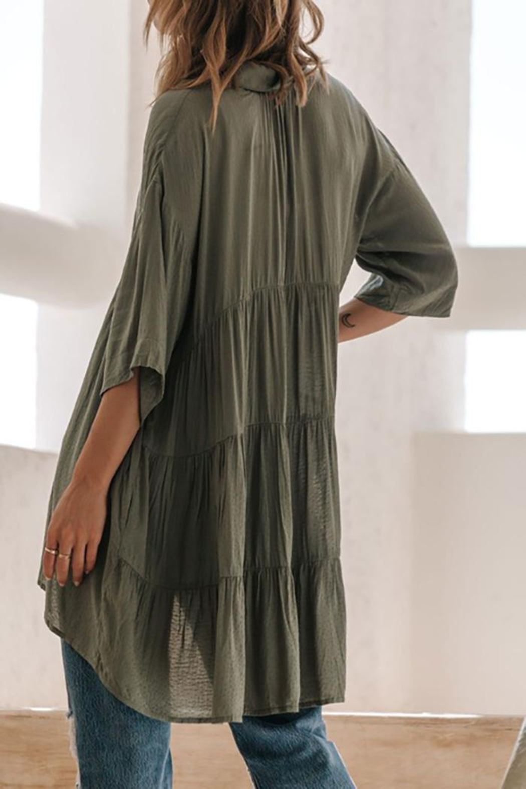 Lovestitch Oversized Button Down Tunic Top - Back Cropped Image