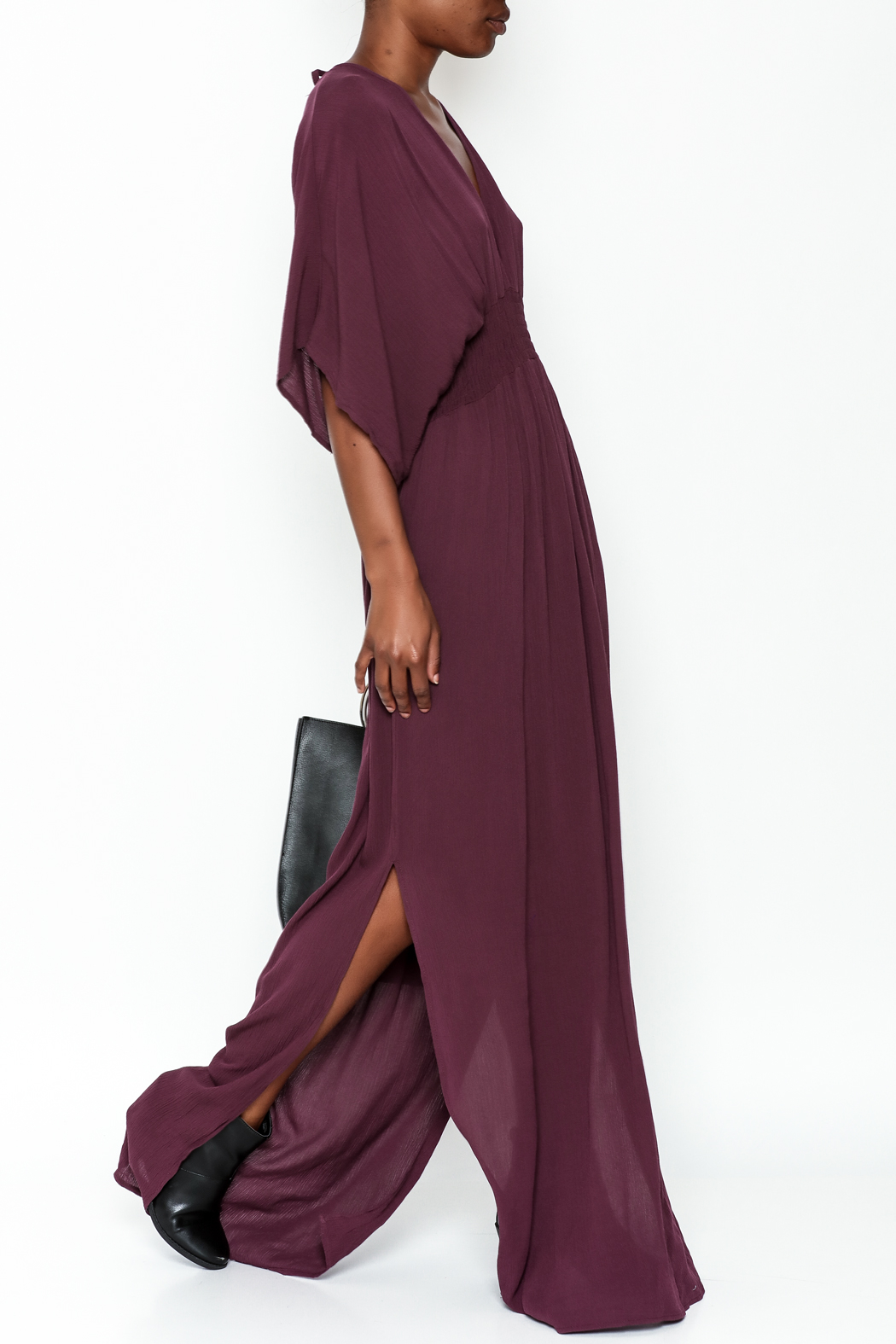 Lovestitch Plunging Plum Maxi Dress - Front Cropped Image