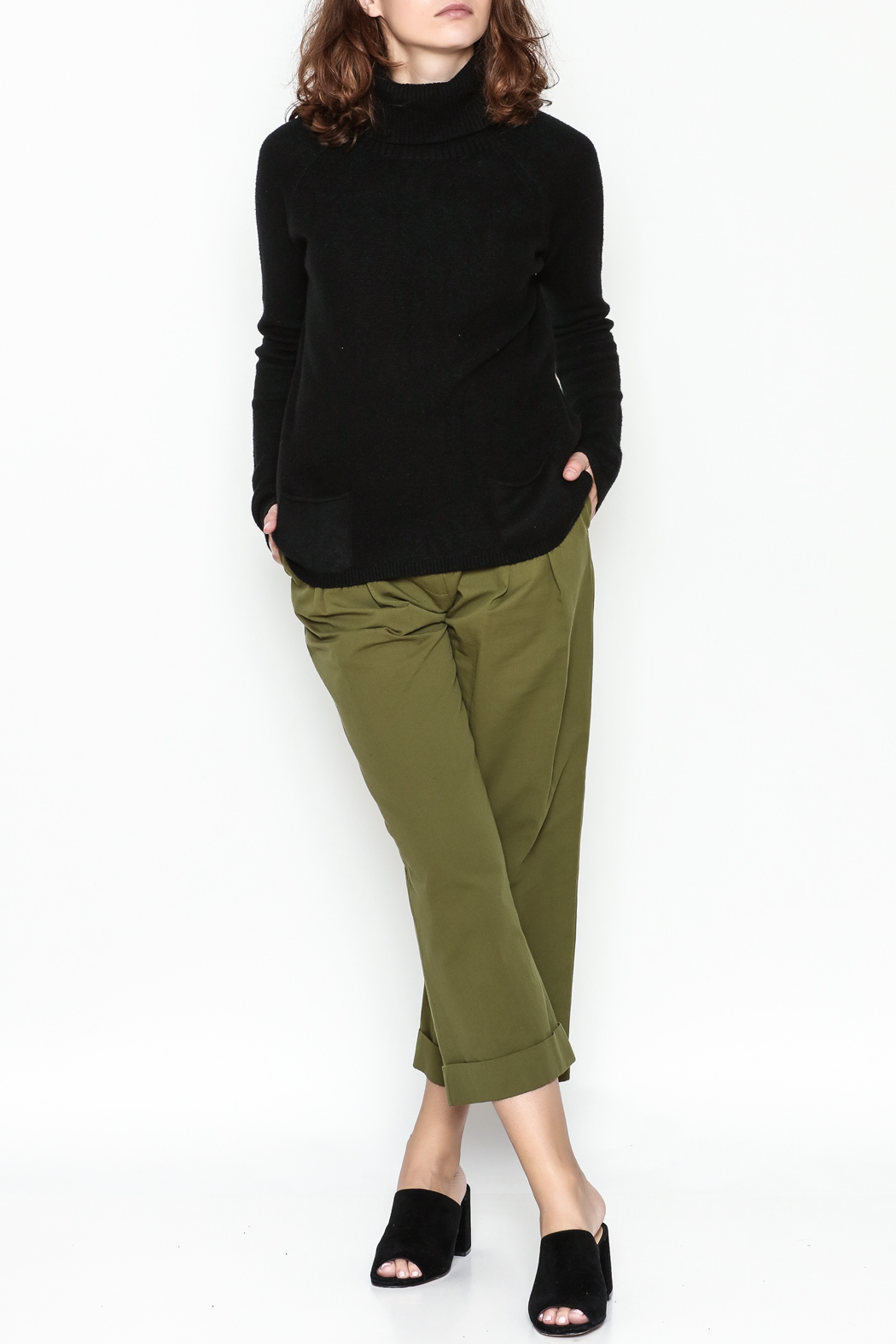 Lovestitch Pocket Turtleneck Pullover - Side Cropped Image