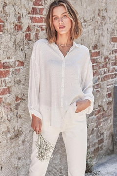 Lovestitch Polkadot Button-Down Top - Product List Image