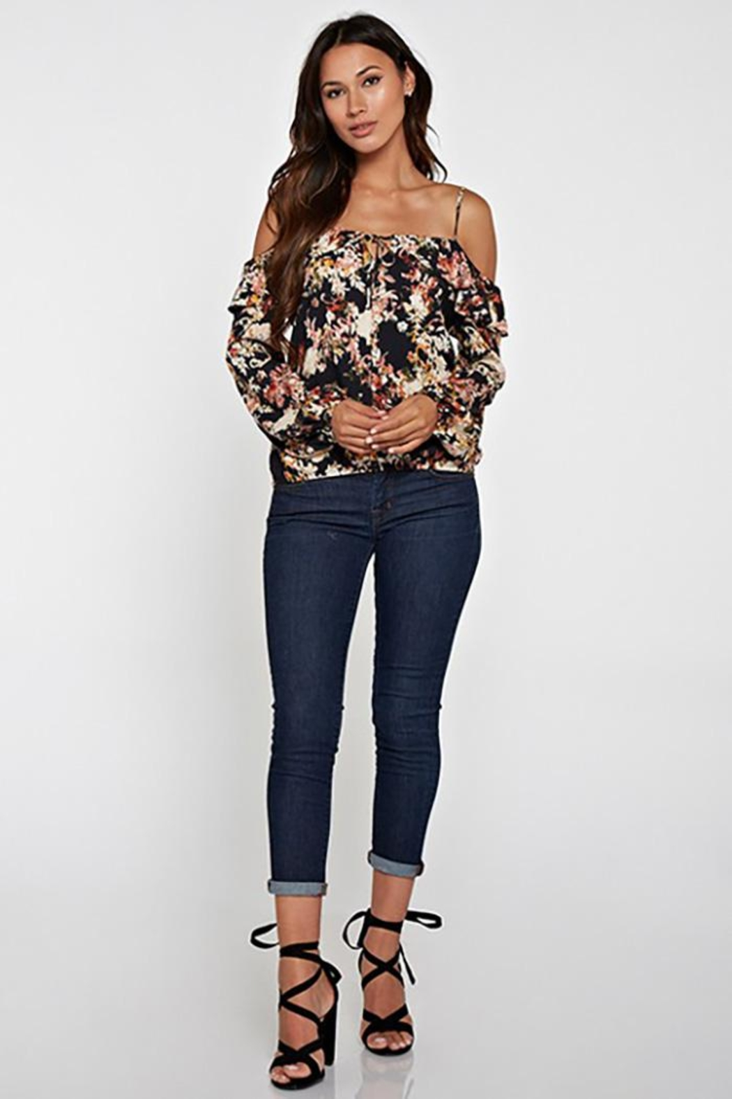 Lovestitch Printed Cold Shoulder - Back Cropped Image