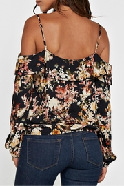 Lovestitch Printed Cold Shoulder Top - Front full body