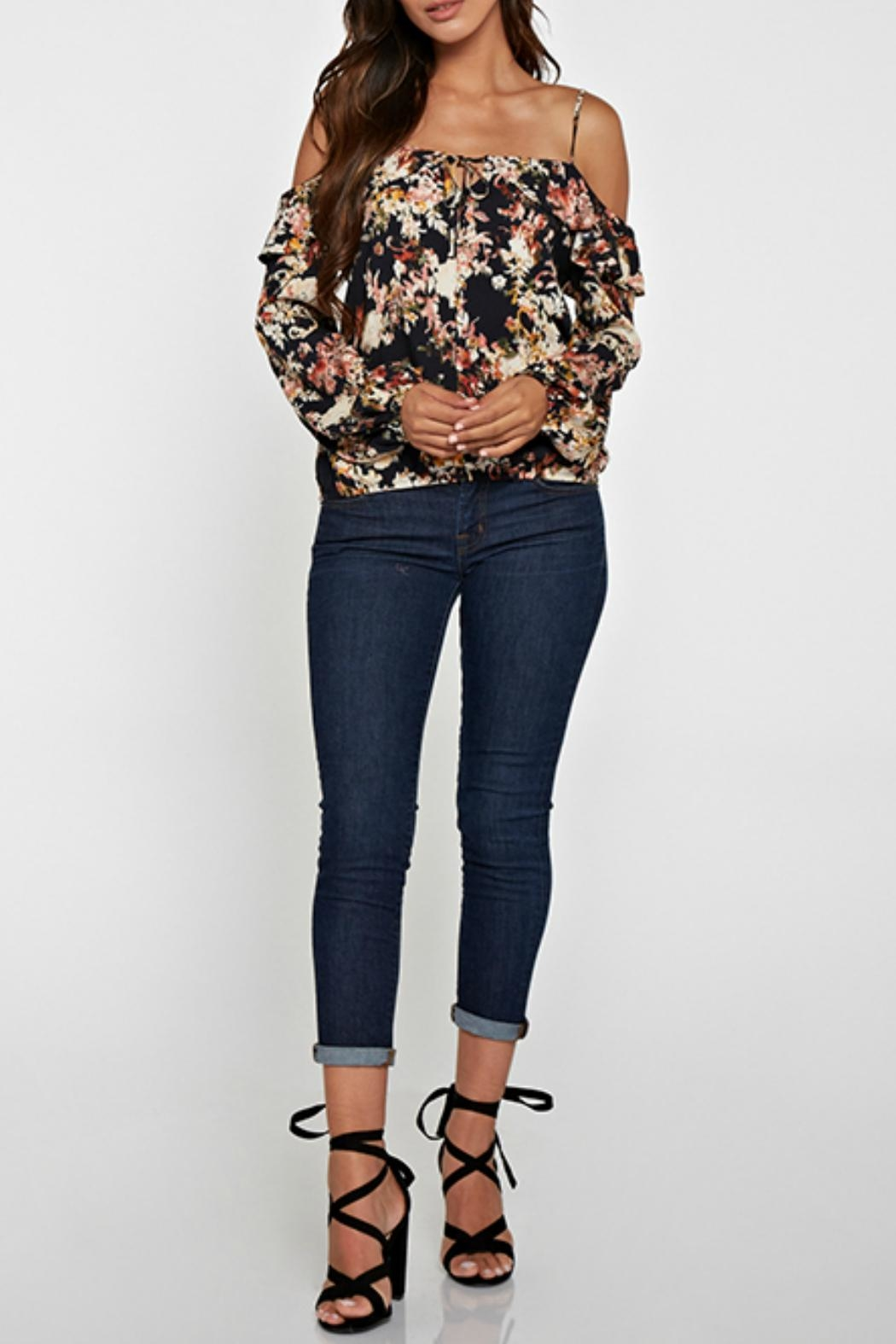 Lovestitch Printed Cold Shoulder Top - Main Image