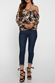 Lovestitch Printed Cold Shoulder Top - Front cropped