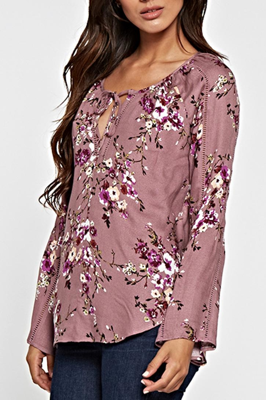 Lovestitch Printed Floral Top - Back Cropped Image