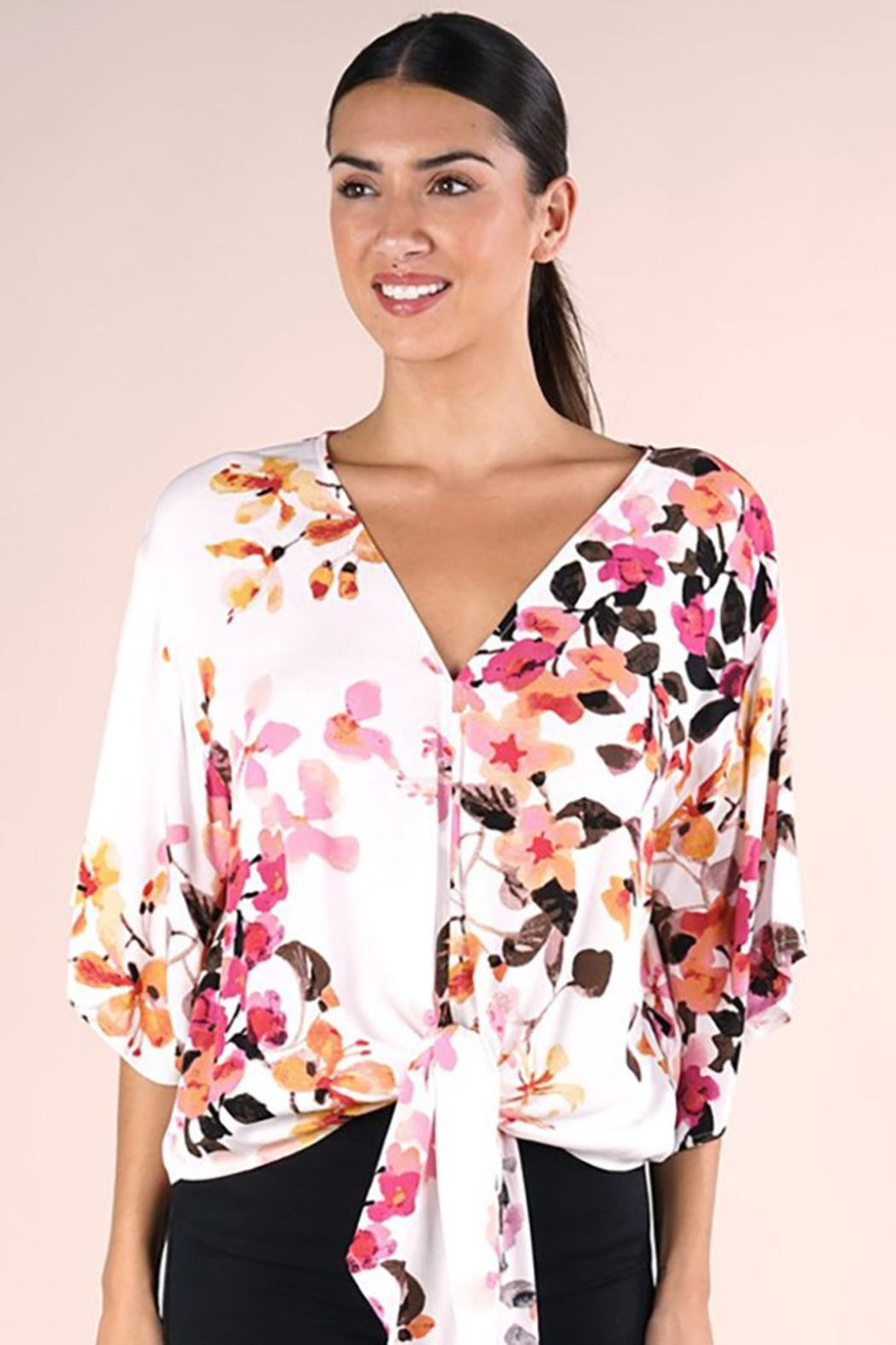 Lovestitch Printed Kimono Sleeve Top - Side Cropped Image