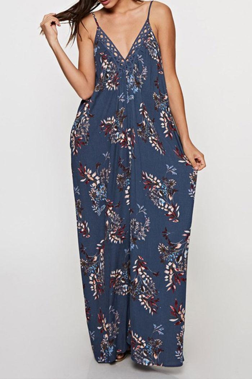 Lovestitch Printed Maxi-Dress With-Trim - Main Image