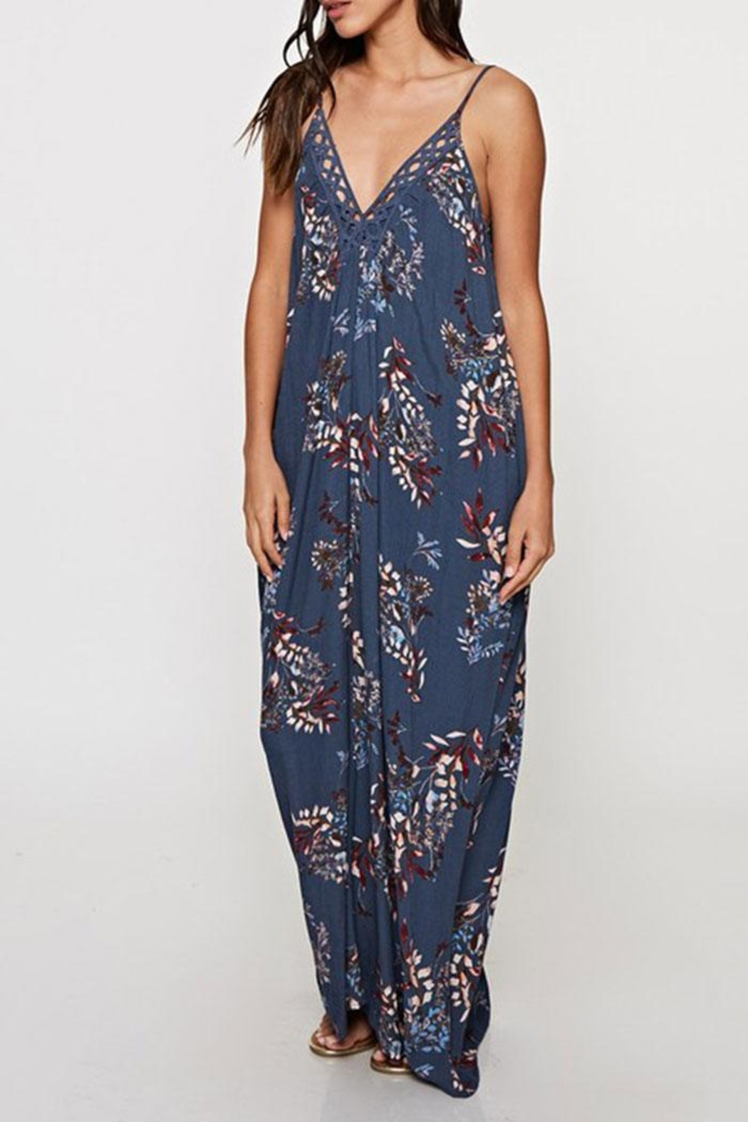 Lovestitch Printed Maxi-Dress With-Trim - Back Cropped Image