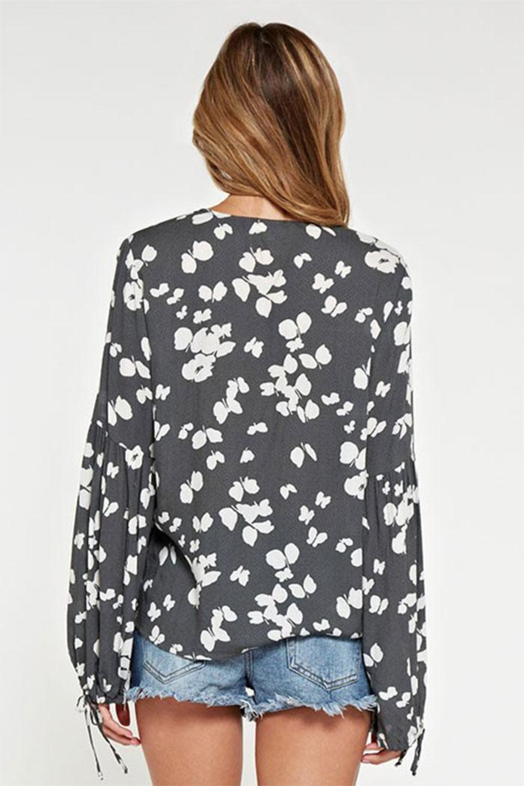 Lovestitch Printed Surplice Top - Front Full Image