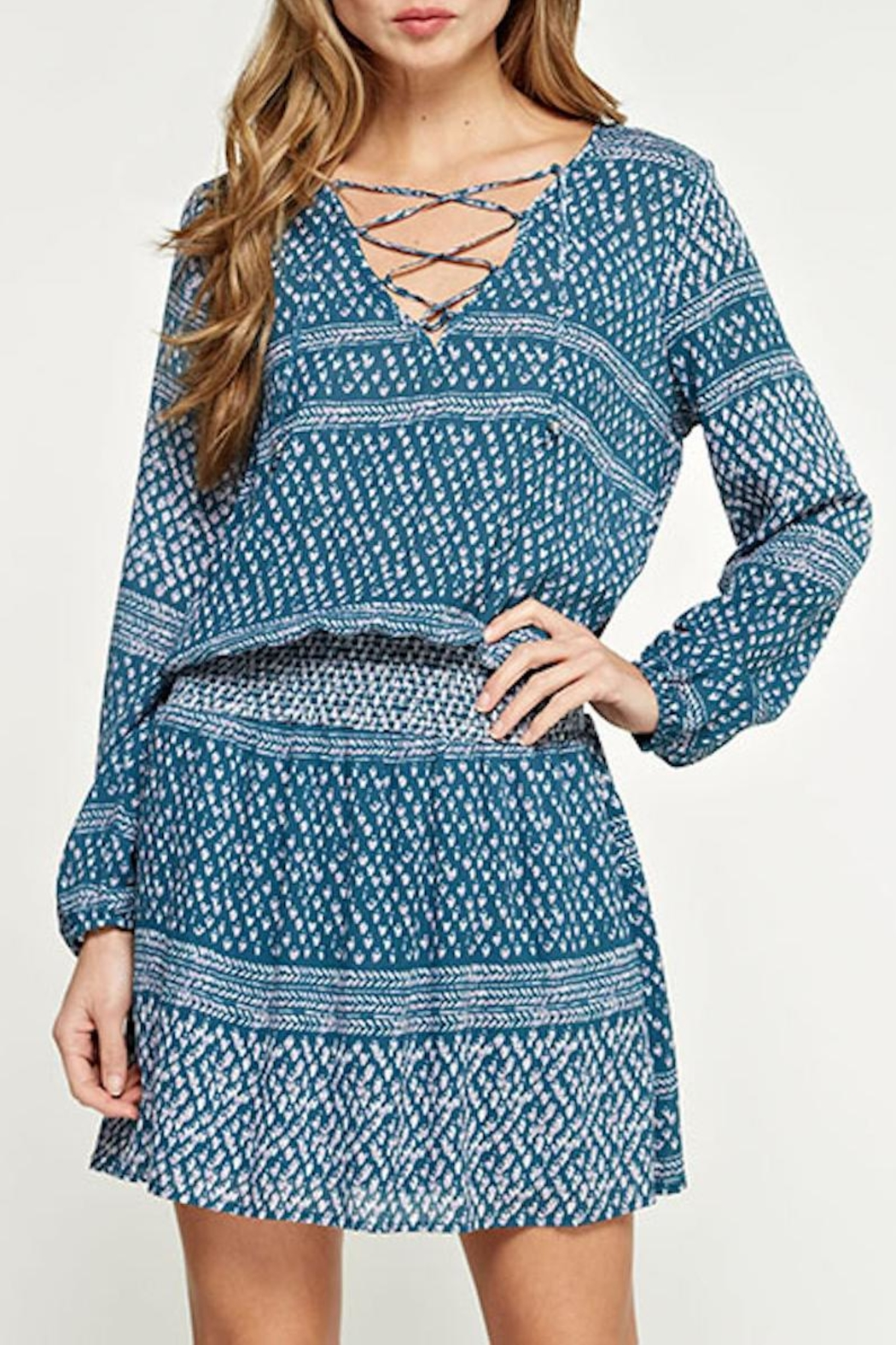 Lovestitch Printed Teal Dress - Front Full Image