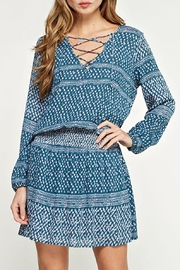 Lovestitch Printed Teal Dress - Front full body
