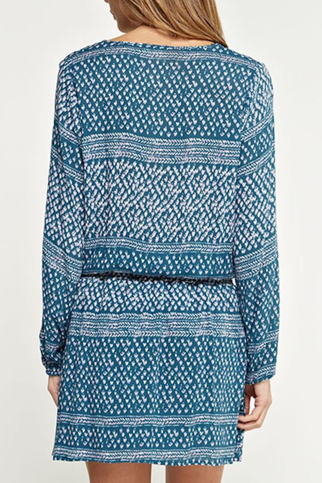 Lovestitch Printed Teal Dress - Side Cropped Image