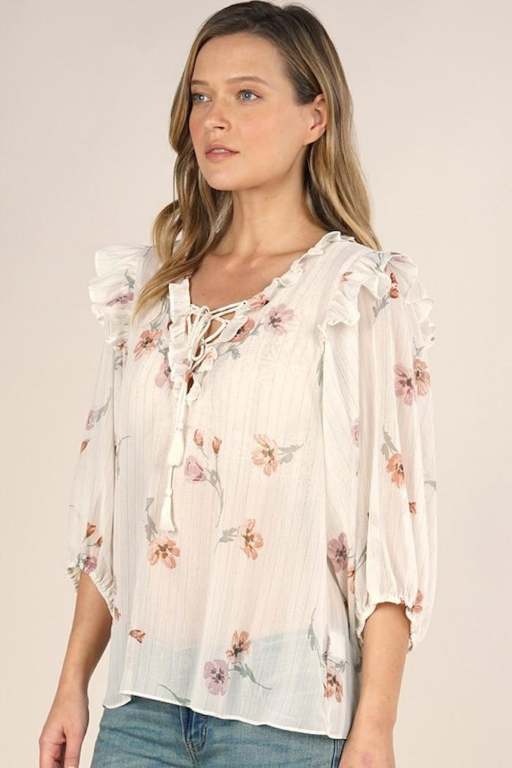 Lovestitch Rohana Floral Top - Side Cropped Image