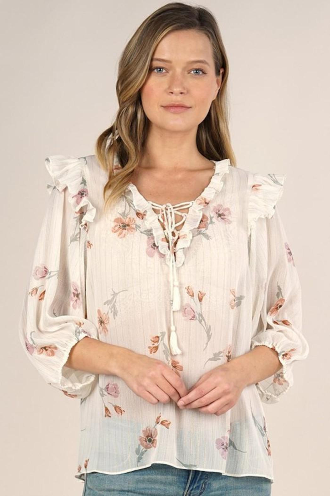 Lovestitch Rohana Floral Top - Back Cropped Image