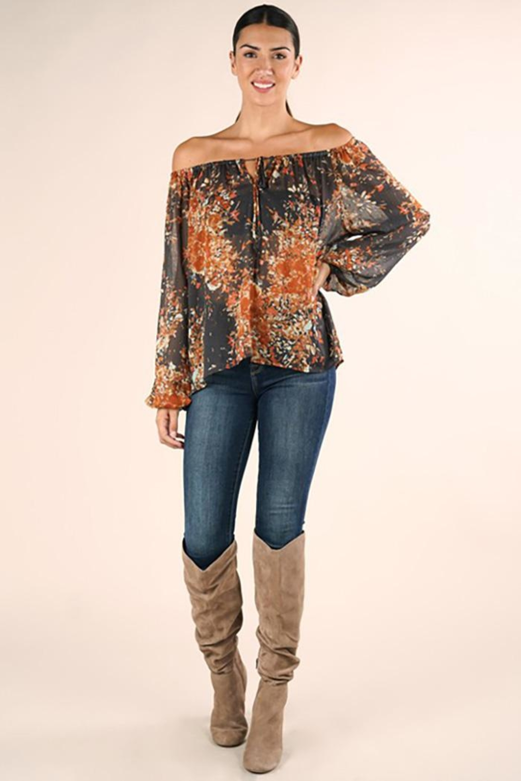 Lovestitch Shirred Neckline Floral Top - Front Full Image