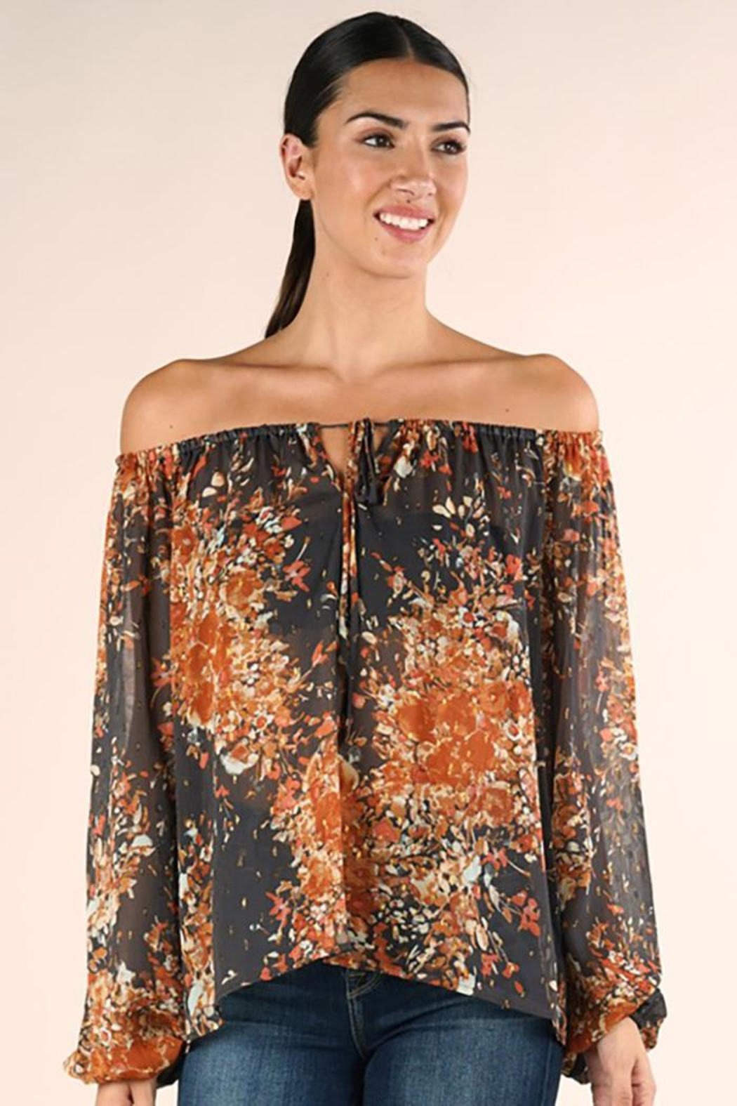 Lovestitch Shirred Neckline Floral Top - Side Cropped Image