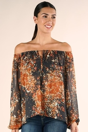 Lovestitch Shirred Neckline Floral Top - Side cropped
