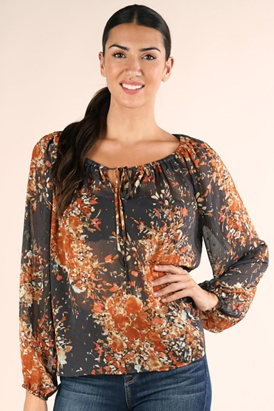 Lovestitch Shirred Neckline Floral Top - Main Image
