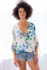 Lovestitch Shirred Tie Sleeve Printed Surplice Top - Product Mini Image
